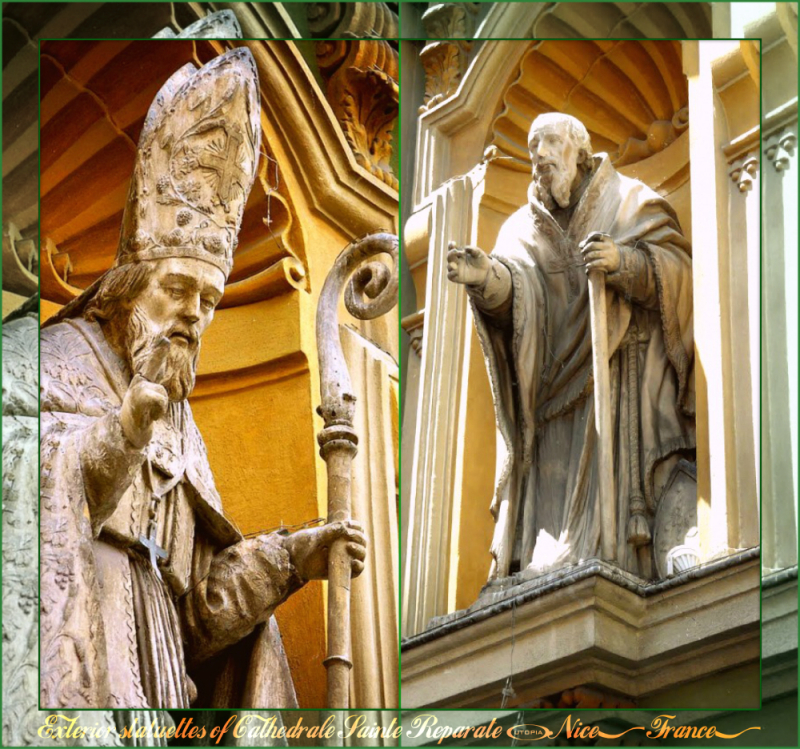 Nice - Cathedrale Sainte-Reparate - exterior statuettes - Collage